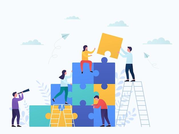 Collega's verbinden puzzelstukjes, teamwork. businessconcept partnerschap, samenwerking van zakenlieden en zakenvrouwen, loopbaangroei, ontwikkeling en succes.
