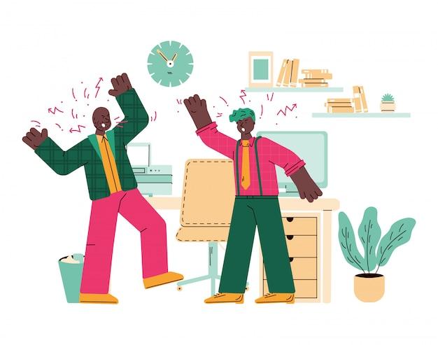 Collega's zijn strijdig op de werkplek in office cartoon afbeelding