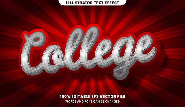 College 3d bewerkbaar tekststijleffect
