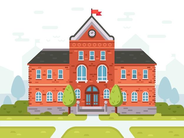 College campus voor studenten, schoolhoog of universiteitsgebouw. studentenhuis ingang vectorillustratie