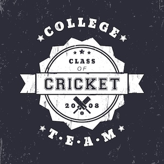 College cricket team vintage grunge logo, badge met gekruiste cricket vleermuizen