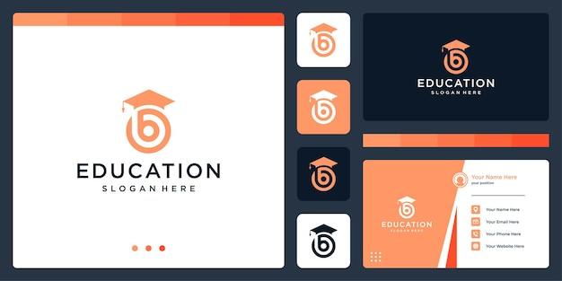 College, graduate, campus, onderwijs logo-ontwerp. en logo beginletter b. visitekaartje