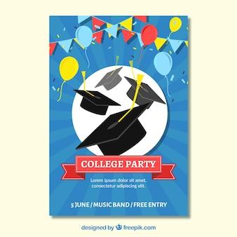 College party brochure met kleurrijke ballonnen