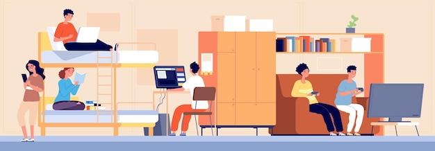 College slaapzaal. studentenhostel, alternatieve accommodatie in slaapzaal. cartoon jongen meisje tiener werken studeren spelen vectorillustratie. studenten college en kamer interieur