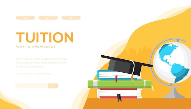 Collegegeld vector bestemmingspagina sjabloon. online onderwijs, startpagina van e-learningwebsite.
