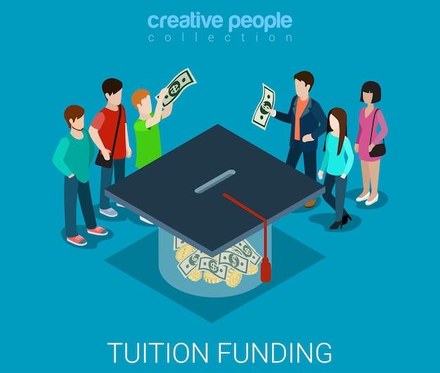 Collegegeld web crowdfunding platform vrijwilligersconcept plat isometrisch