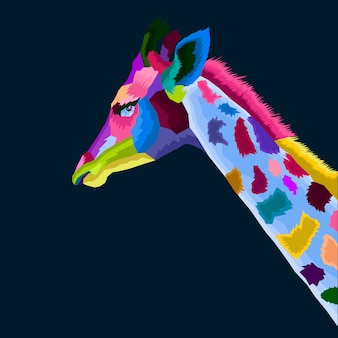 Colofull giraffe pop-art vector