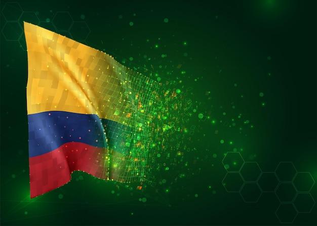 Colombia, 3d-vlag op groene achtergrond met polygonen