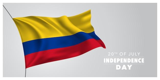 Colombia gelukkige onafhankelijkheidsdag groet banner