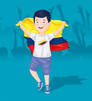 Colombiaanse jongen met vlag