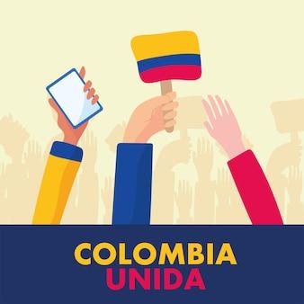Colombianen handen protesteren