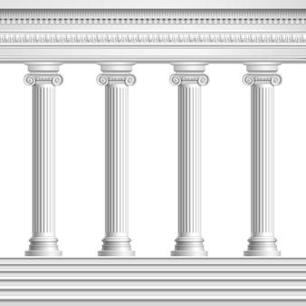 Colonnade van architectonisch element van realistische antieke kolommen met versierd plafond en voet met trap