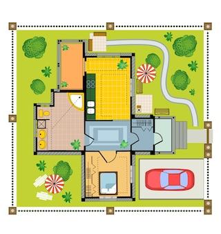 Color plan landhuis op een witte achtergrond
