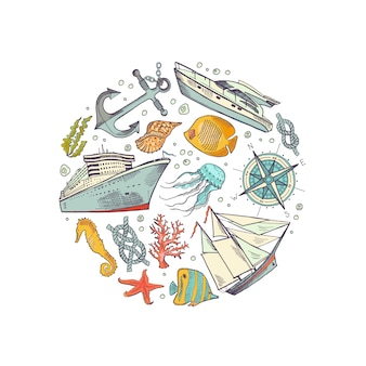 Colore geschetste zee-elementen