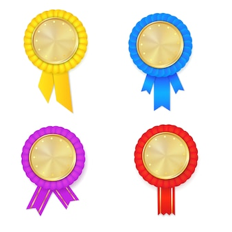 Colorfull award rosette set.