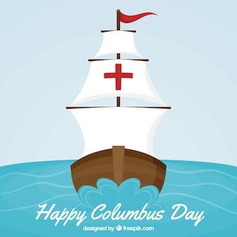 Columbus dag achtergrond van caravel zeilen