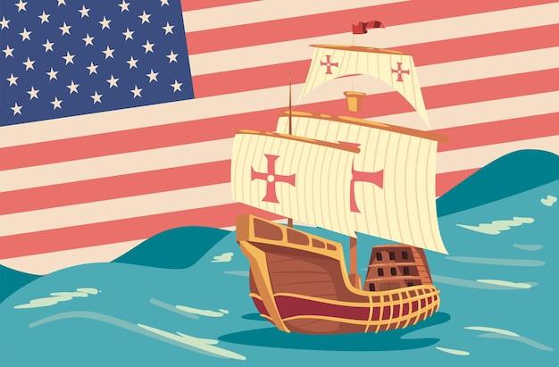 Columbus dag ansichtkaart