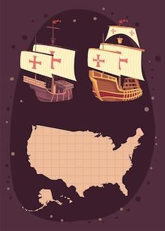 Columbus dag pictogrammen en kaart Premium Vector