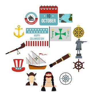 Columbus day iconen set, vlakke stijl