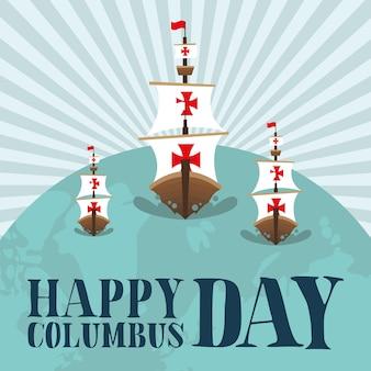 Columbus schepen op wereldontwerp van gelukkig columbus dag amerika en ontdekkingsthema