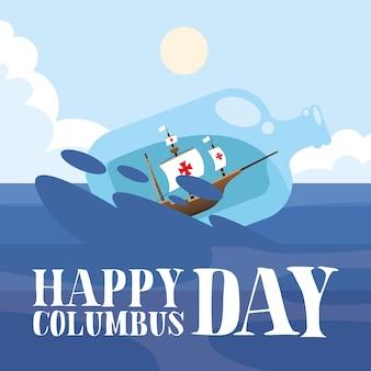 Columbus-schip in waterfles op zee-ontwerp van happy columbus day-amerika en ontdekkingsthema