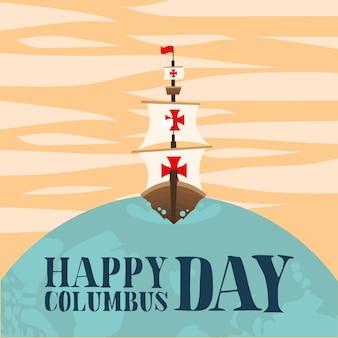 Columbus-schip op wereldontwerp van gelukkig columbus dag amerika en ontdekkingsthema