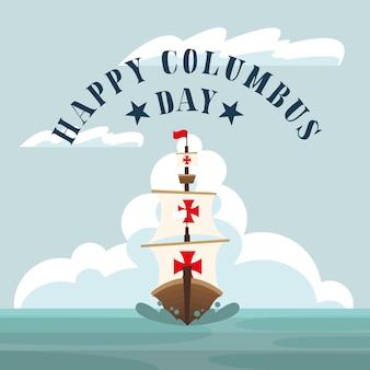 Columbus-schip op zee-ontwerp van happy columbus day-amerika en ontdekkingsthema