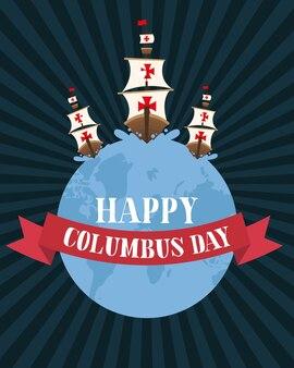 Columbus verscheept op wereld met lintontwerp van gelukkig columbus dag amerika en ontdekkingsthema