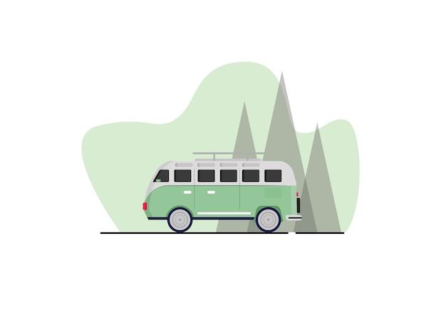 Combi auto illustratie in vlakke stijl