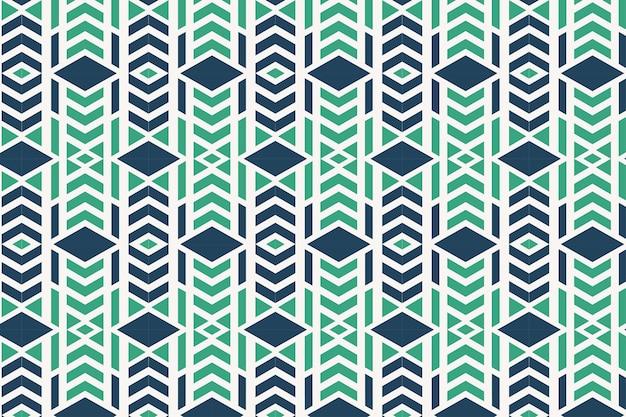 Combinatie groen en blauw vector geometrisch ornament stijlvol naadloos patroon met vierkantenpijl