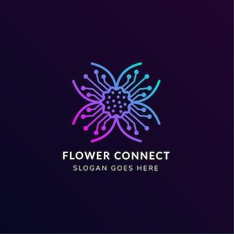 Combinatie van bloem met elektriciteitssymbool maakte een logo-ontwerpsjabloon met roze en blauwe gradiënt geïsoleerd in donkerpaarse achtergrond