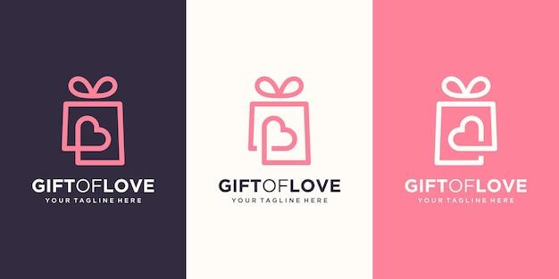 Combinatie van cadeau en hartlogo. unieke verrassing en logo-ontwerpsjabloon
