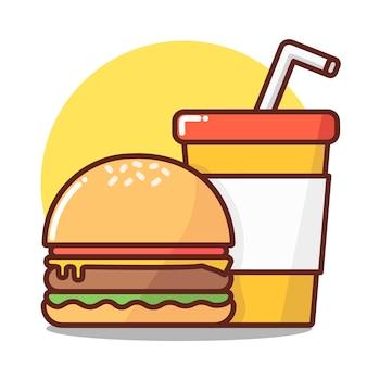 Combinatie van hamburger met frisdrank.