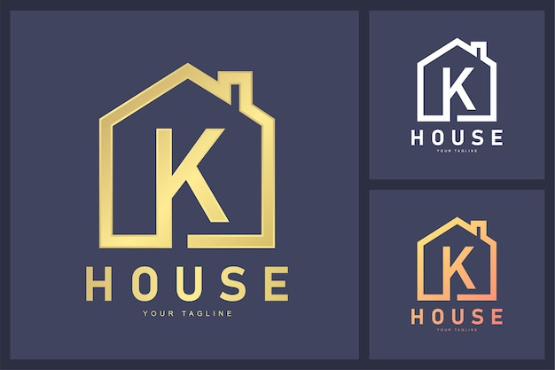 Combinatie van letter k-logo en huissymbool.