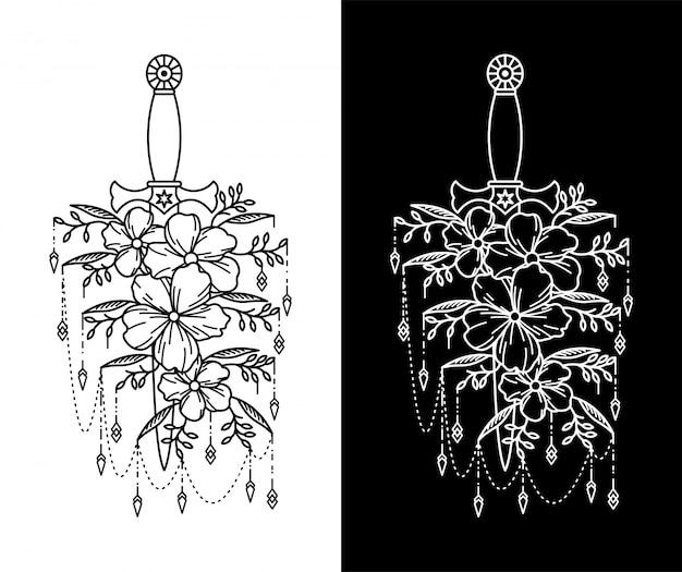 Combinatie van schoenbloem-tatoeages en dolken