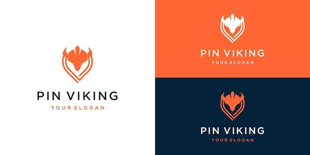 Combinatie van viking met pin-logo-ontwerp