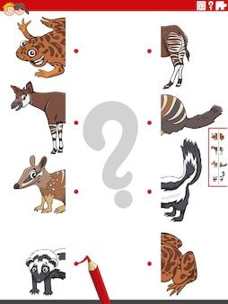Combineer de helften van afbeeldingen met het educatieve spel van tekenfilmdieren