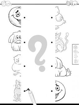 Combineer de helften van afbeeldingen met het kleurenboek van de karakters