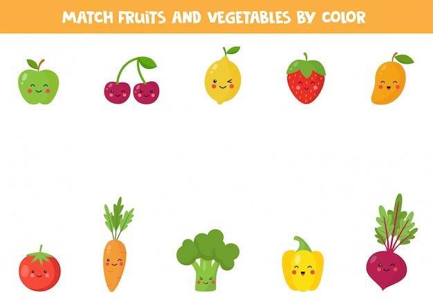 Combineer groenten en fruit op kleur. educatief logisch spel voor kinderen. grappige puzzel.