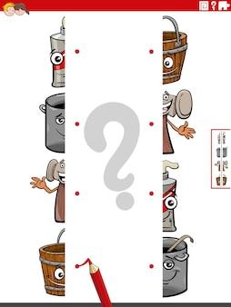 Combineer helften van afbeeldingen met educatief spel met tekenfilmobjecten