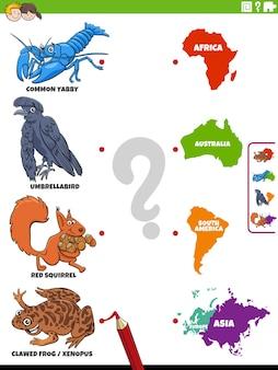 Combineer het educatieve spel van diersoorten en continenten
