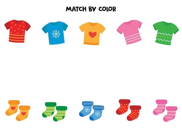 Combineer t-shirts en sokken op kleur.