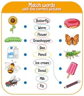 Combineer woorden met het juiste plaatjesspel voor de illustratie van kinderen