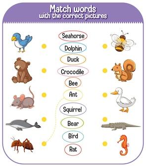 Combineer woorden met het juiste plaatjesspel voor kinderen