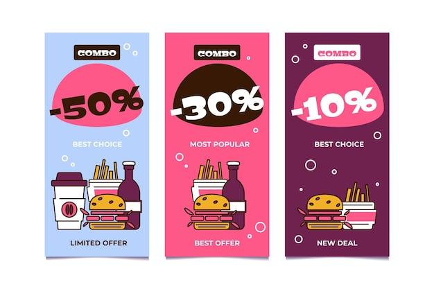 Combo-maaltijden bieden een pakket met verticale banners