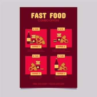 Combo-maaltijden bieden een poster met illustraties