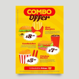 Combo-maaltijden bieden postersjabloon