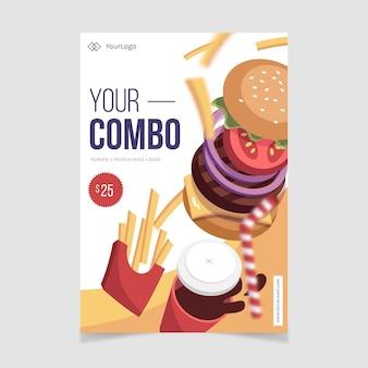 Combo maaltijden poster sjabloon stijl