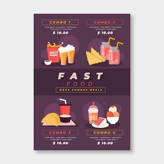 Combo maaltijden poster sjabloon