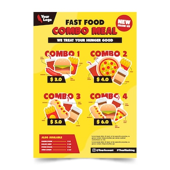 Combo maaltijden poster sjabloonontwerp